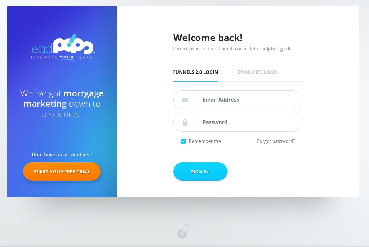 New leadPops Dashboard Login Screen Design