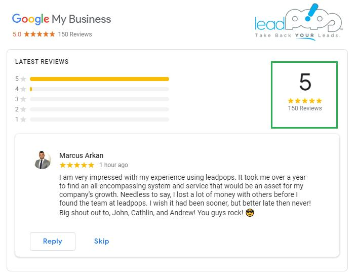 Here it is: Google Review #150 for the year with an average rating of 5.0!